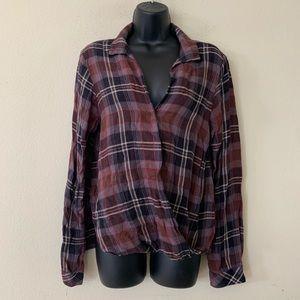 Bella Dahl Maroon Grey Faux Wrap Flannel Shirt